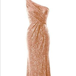 Gold sequin one shoulder gown